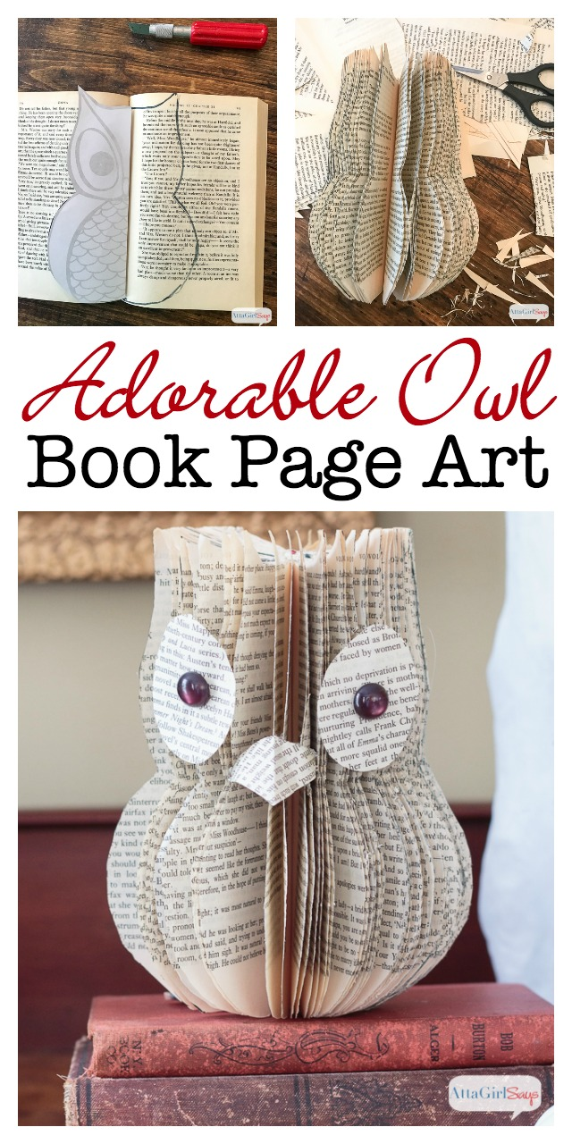 Wondering what to do with old books you don't want to read anymore? Learn how to upcycle them into book page art, like this adorable owl.