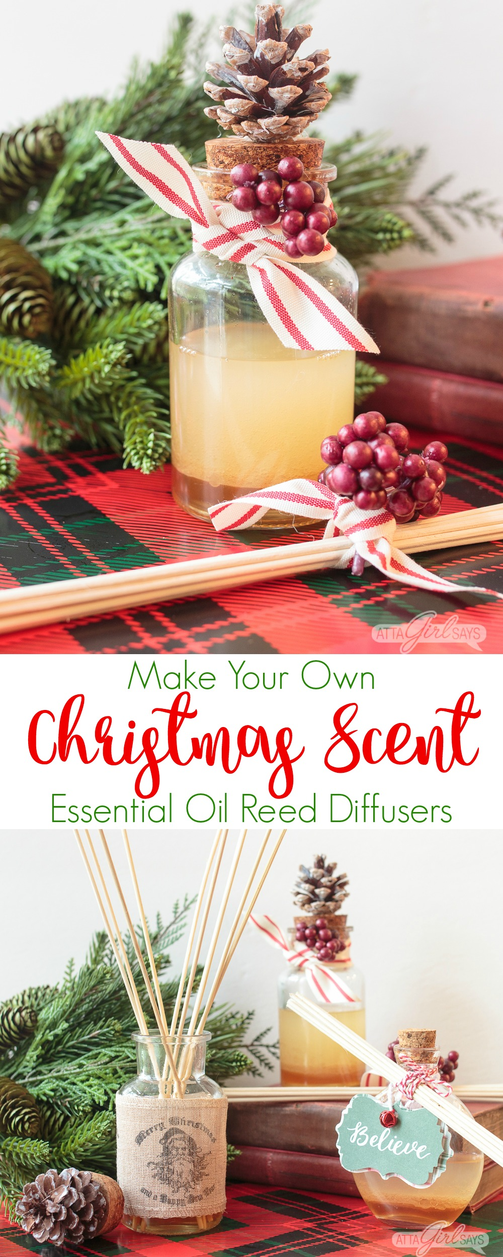 Learn how to make your own essential oil reed diffusers, featuring a delicious Christmas scent of clove, cedarwood, sweet orange and vanilla, in beautiful glass bottles that will enhance your holiday decor. #HandmadeHolidays