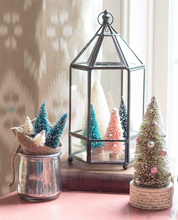 Clever bottle brush tree display for Christmas. If you love vintage, you'll love this Christmas home tour.
