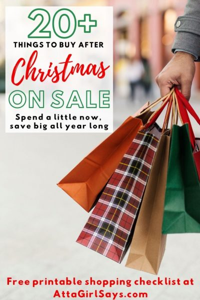 man carrying Christmas shopping bags with a text overlay 20+ Things to Buy After Christmas On Sale