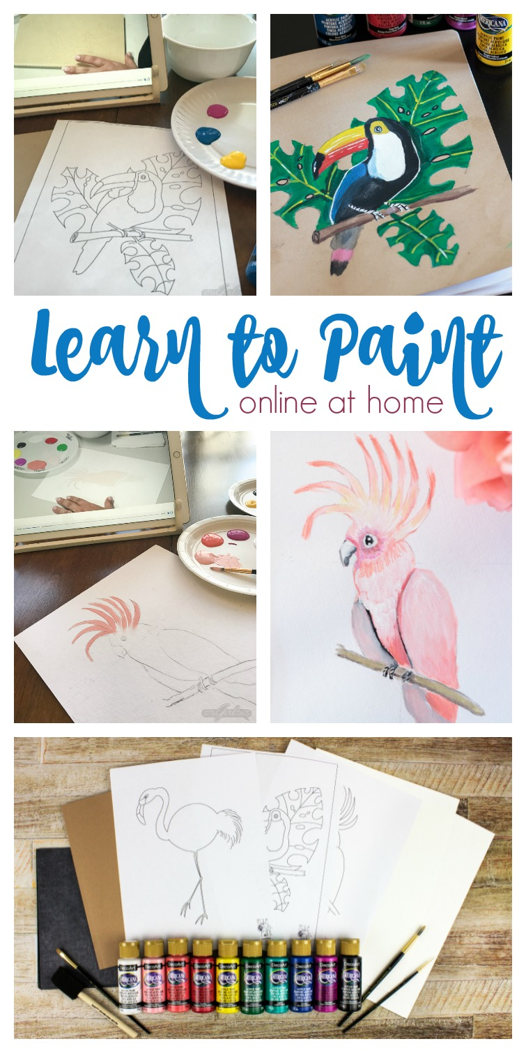 """Learn how to paint with acrylics with easy video art lessons from the Society of Decorative Painters """"Make with Paint,"""" program, featuring projects with a modern twist. You'll have so much fun learning acrylic painting techniques online at home and creating one-of-a-kind artwork. #sponsored #MakeWithPaint #paintinglessons"""