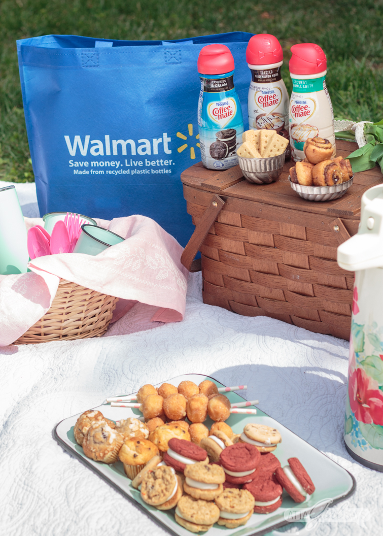 Enjoy the gorgeous weather this spring with a beautifully styled coffee and dessert picnic, featuring your favorite sweet treats, brews and Coffee-mate® Dessert Creamers. #ad #picnic #coffeeanddessert #dessertpicnic #coffee