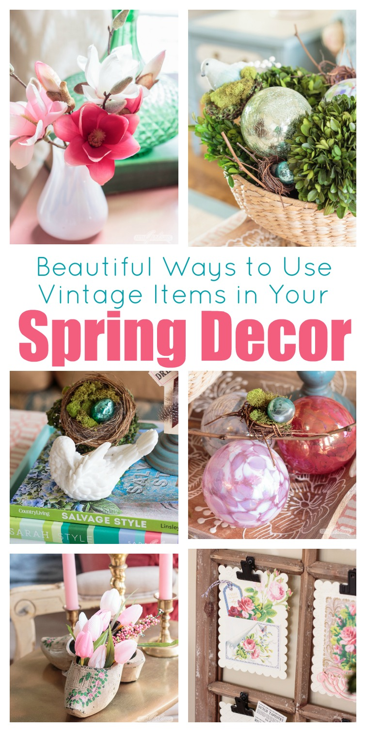 You don't have to spend a lot of money add seasonal touches to your home. These spring home decorating ideas will show you to use what you already have and shop at thrift stores and secondhand shops to create a space you'll love. #springdecorating #vintagedecor #hometour #springhometour #styledforspring