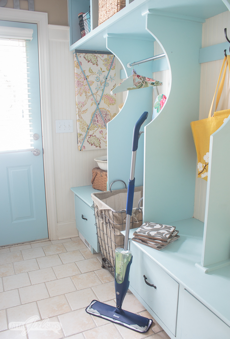 Patterned tile floors are a popular and on trend choice for kitchens, bathrooms, laundry rooms and entryways. I'm showcasing some of my favorite encaustic tiles plus sharing tips for how to clean tile floors without damaging them. #ad #ShowTheLove #BonaLaminateCleaner #cleaningtips #tilefloors #patternedtile