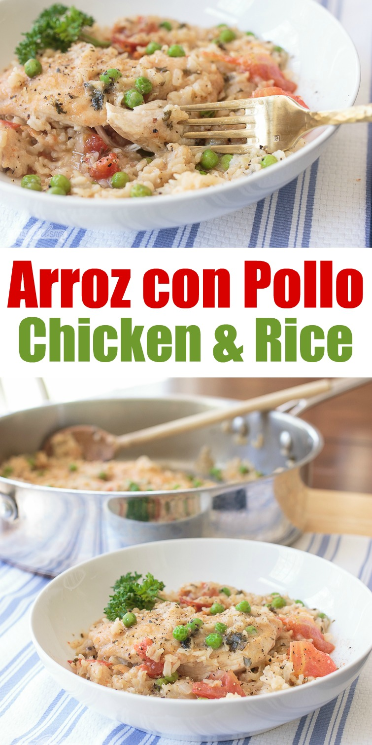 Your family will love this flavorful chicken and rice dish. This arroz con pollo recipe is an easy one-pot meal, perfect for busy weeknights or anytime you don't want to spend a lot of time in the kitchen. #arrozconpollo #easyrecipes #onepotmeals #chickendinner #chickenrecipes #weeknightmeals