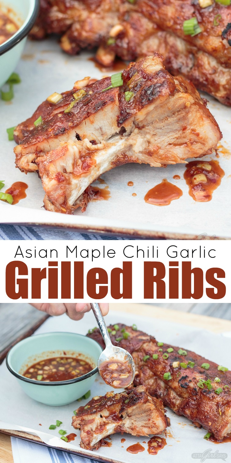 These Asian sweet & spicy grilled baby back ribs are going to be the star of your next cookout! Seasoned with a delicious homemade spice rub and slow cooked on the grill until they're fall-off-the-bone tender, the ribs are finished with a maple chili garlic sauce. You'll feel like a champion pitmaster every time you serve these! #ad #GetGrillingAmerica #ribs #grilledribs