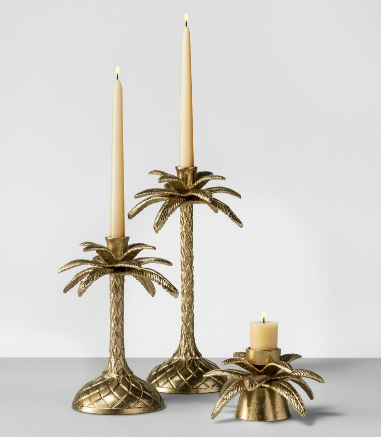 If you love vintage decor and housewares, hurry to Target to check out the new Opalhouse collection. These vintage brass palm tree candle holders are among the fabulous vintage-style pieces you'll find at great prices! #opalhouse #targetstyle #vintagestyle #vintagebrass #palmtree #hollywoodregency #palmbeachstyle #lillypulitzer