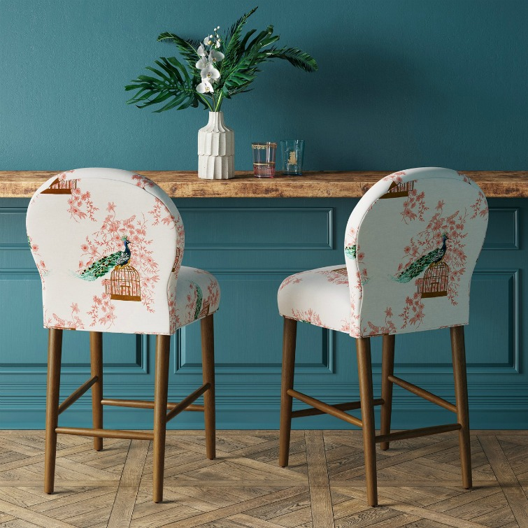 If you love vintage decor, hurry to Target to check out the new Opalhouse collection. These peacock fabric upholstered counter stools are among the fabulous vintage-style pieces you'll find at great prices! #opalhouse #targetstyle #vintagestyle #peacock Peacockfabric