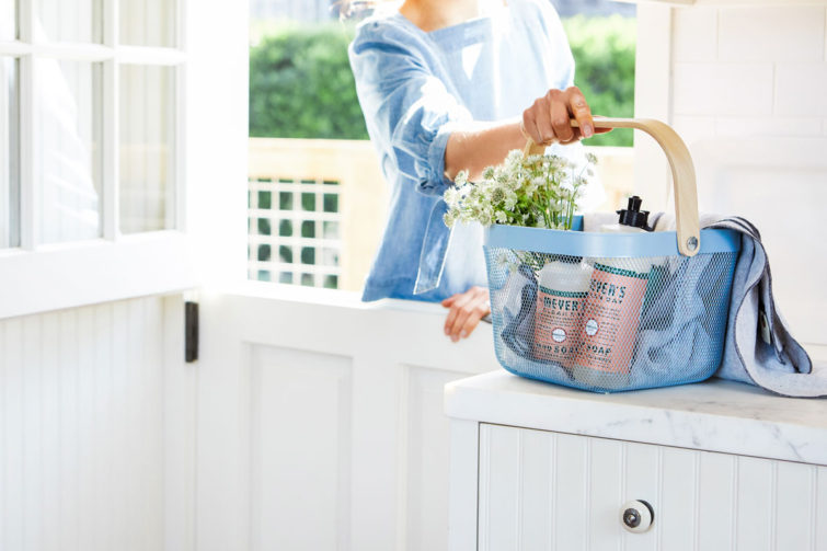 woman carrying a basket of soap, dish liquid and cleaning supplies