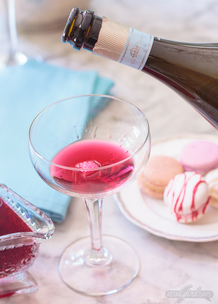Add hibiscus-infused vodka and a sugar cube to a coupe glass, then fill with prosecco to make a delicious hibiscus cocktail for your next brunch. Get the recipe for this drink, plus two more hibiscus cocktails. #ad #CelebratorySips #CelebrateWithLaMarca