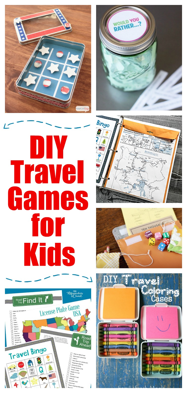 Keep kids and tweens off their screens and occupied on long summer road trips with these DIY travel games for kids. Road trip bingo, travel games, activities, printables and more. #roadtrip #kidsactivities #travelbingo #travelgames