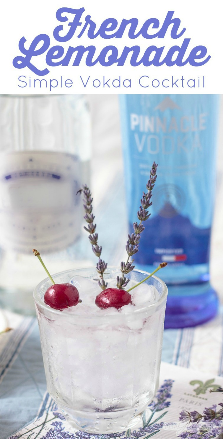French lemonade simple vodka cocktail garnished with cherries and lavender