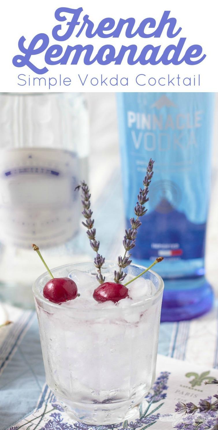 lavender vodka lemonade with cherry and lavender garnish