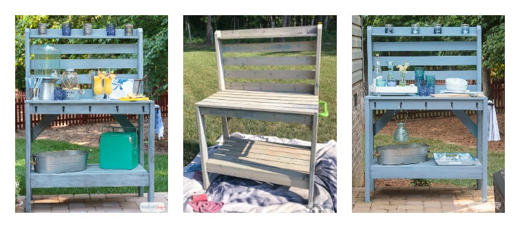 Side-by-side comparison of outdoor painted furniture. The image on the left is the potting bench server when it was new, finished with milk paint and outdoor stain. The middle image is after two years in the elements. Almost all of the finish has washed away or faded in the sunlight. The image on the right is after two coats of outdoor paint, applied with a Wagner FLEXiO sprayer. #ad #WagnerSprayers #paintedfurniture #patiofurniture #outdoorfurniture