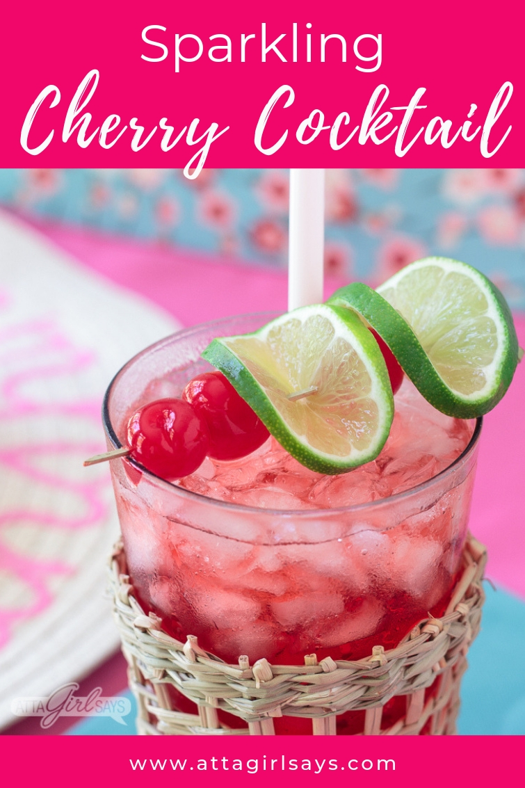 sparkling cherry vanilla cocktail with cherry and lime garnish