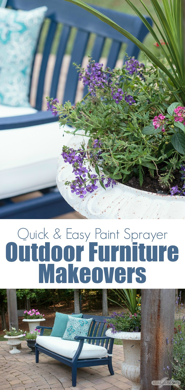 Giving your painted outdoor furniture a makeover is an easy way to refresh your patio, porch, deck and other outdoor spaces for the season. Using a paint sprayer makes the job quick and easy. You'll be so inspired when you see how we transformed worn out, weather-beaten furniture. #WagnerSprayers #paintedfurniture #outdoorfurniture #patiomakeover