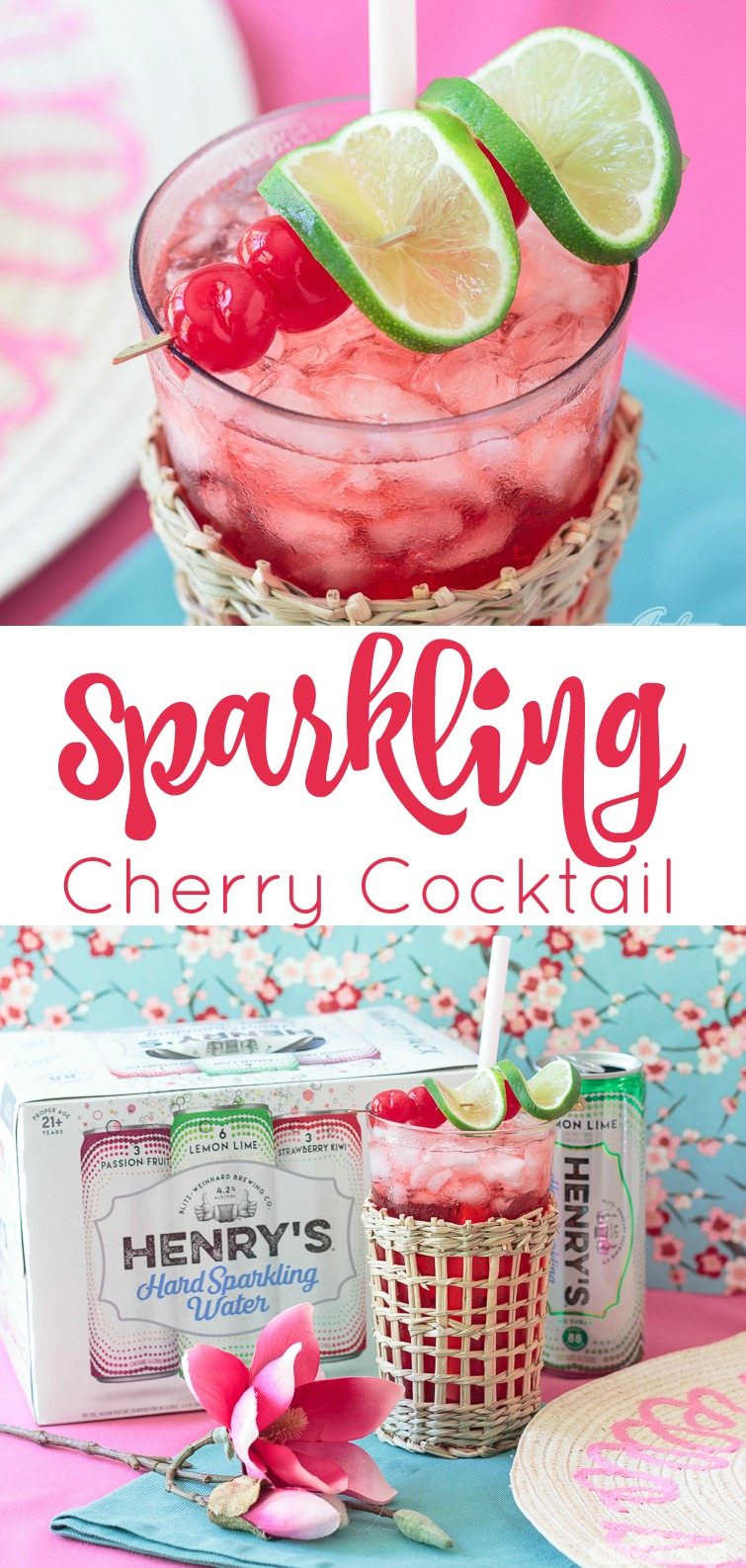 sparkling cherry cocktail made with lemon lime spiked sparkling water, cherry schnapps and vanilla vodka
