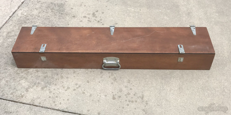 Old wooden shotgun case that will be upcycled into a DIY hairpin leg desk with storage.