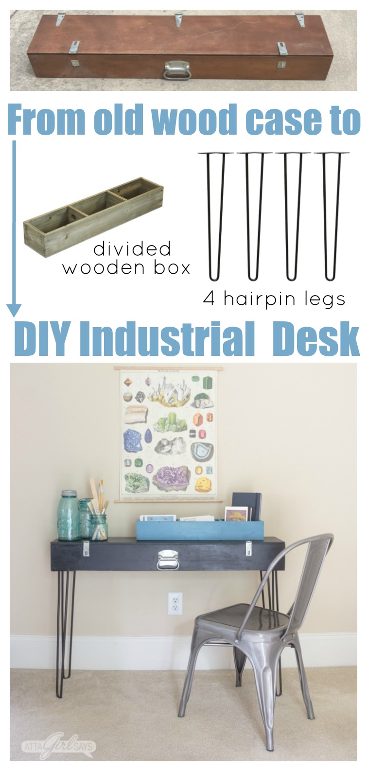 Collage photo showing a black hairpin leg desk with art supplies on top of it. The collage also has photos of a wooden shotgun box, a divided wooden box and four hairpin legs used to make the desk.