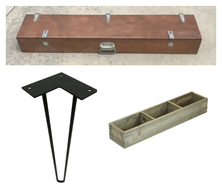 Collage photo showing the supplies needed to make a DIY hairpin leg desk: a wooden shotgun case, black steel hairpin legs and a divided wooden box.