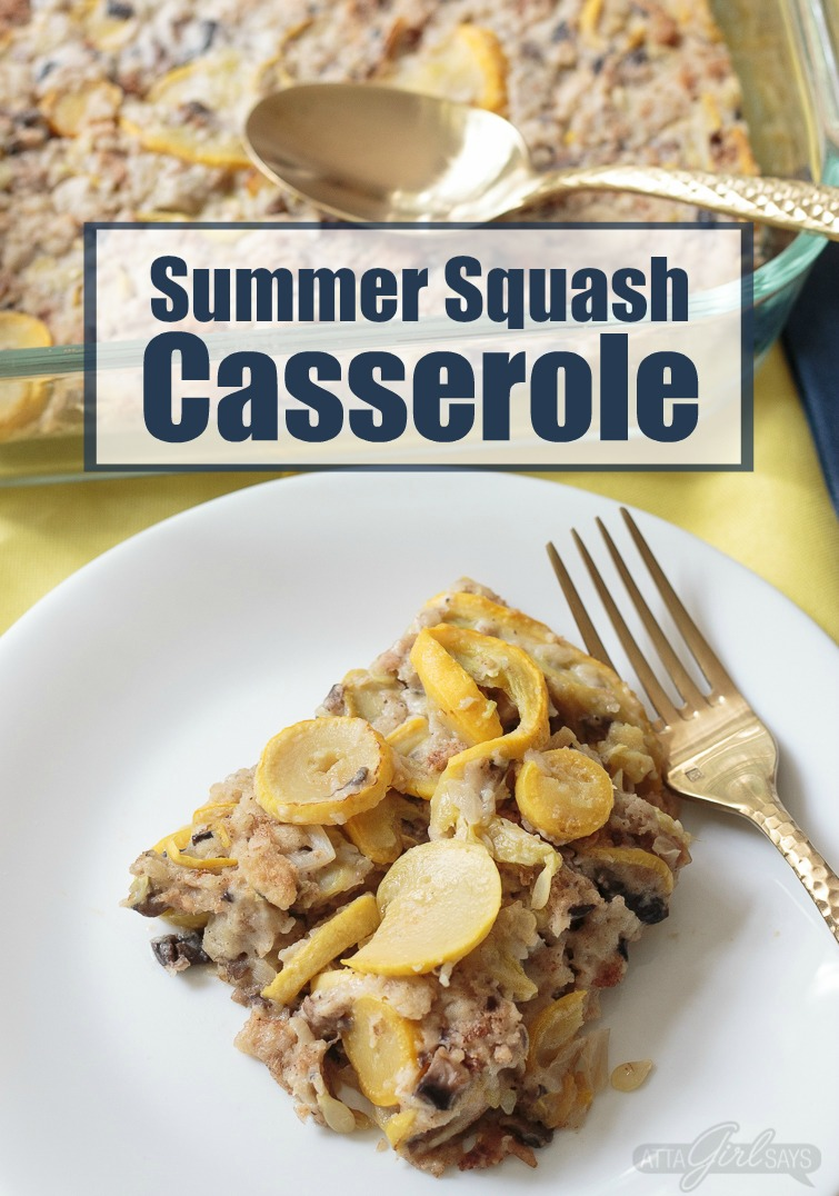 Captioned Summer Squash Casserole, this photo shows a serving of squash casserole with stuffing on a white plate on top of a yellow tablecloth with a blue napkin in the background