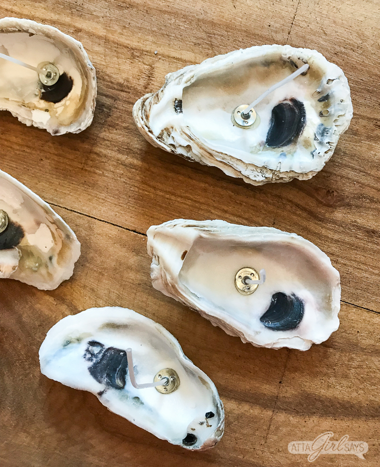 oyster shells with candle wicks in them on a wood surface