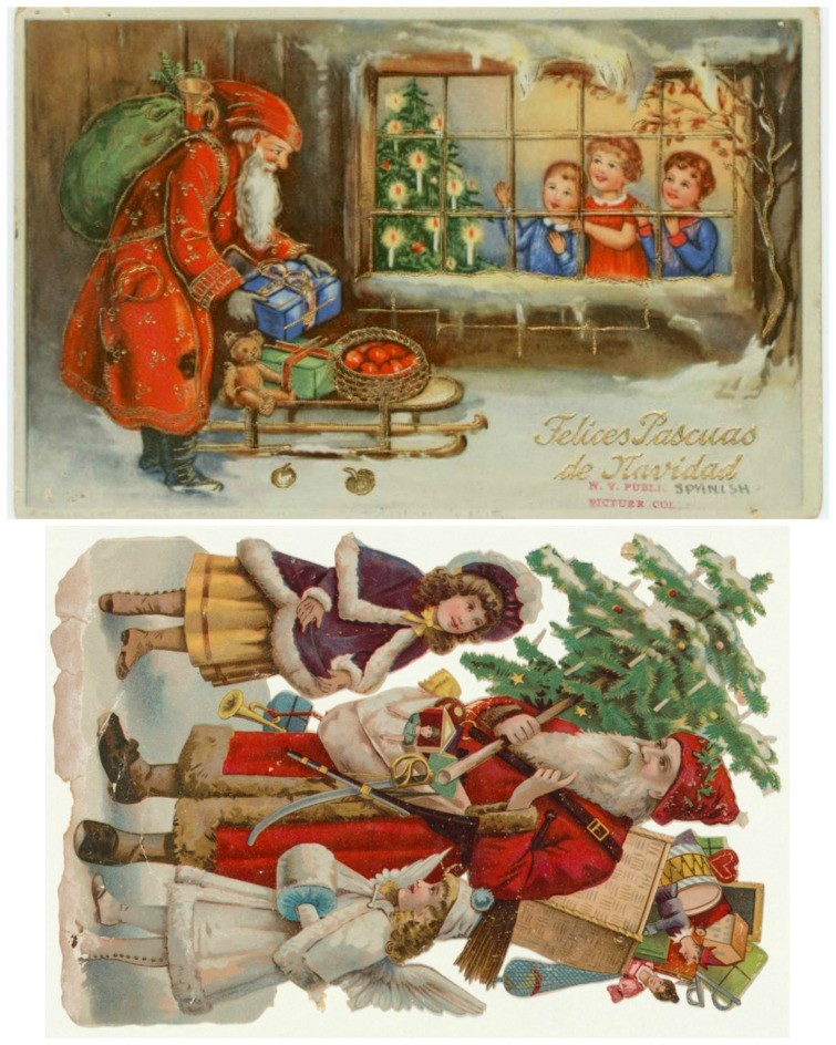 two vintage Christmas postcard images
