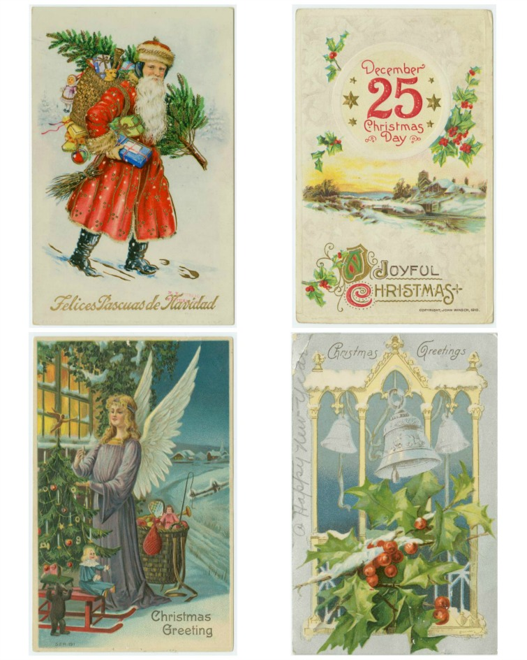 four vintage Christmas postcard images