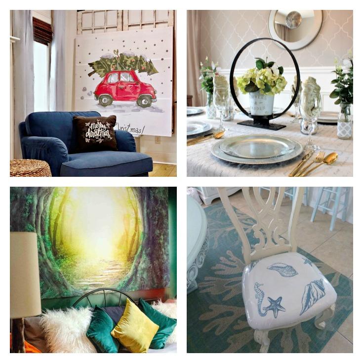 photo collage of Repurposed Shower Curtain Ideas