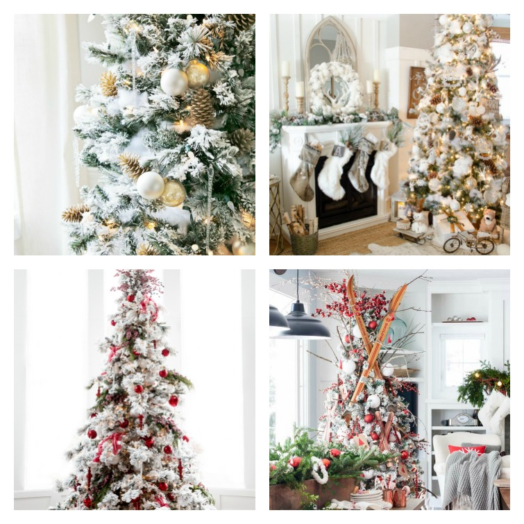 Rustic Glam flocked Christmas trees