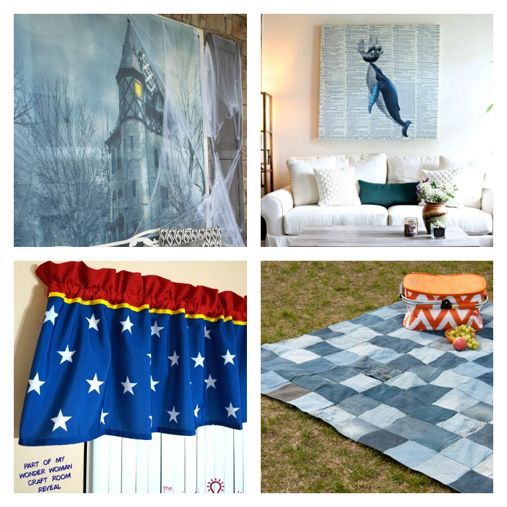 collage photo of shower curtain artwork and projects