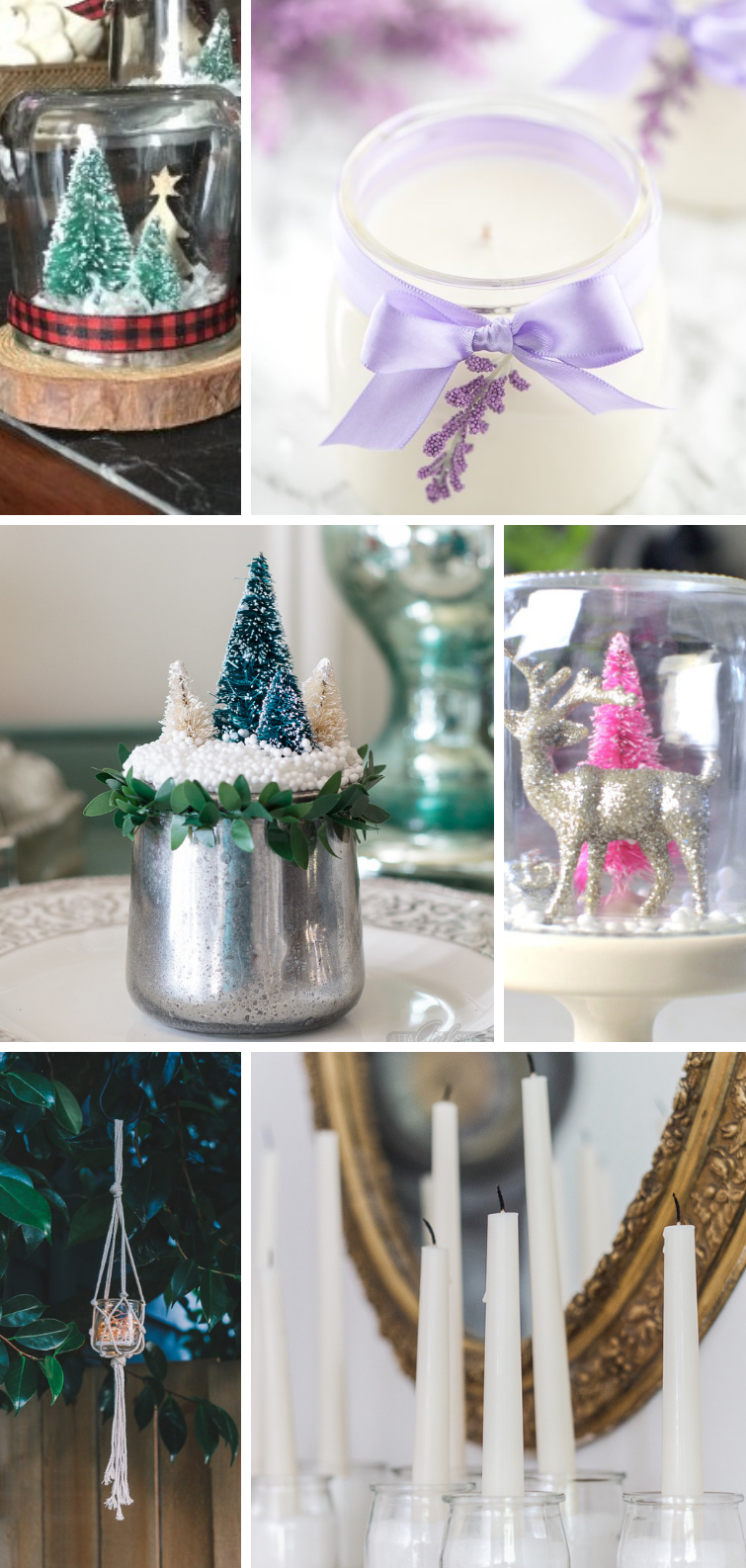 collage featuring crafts made from glass Oui yogurt jars