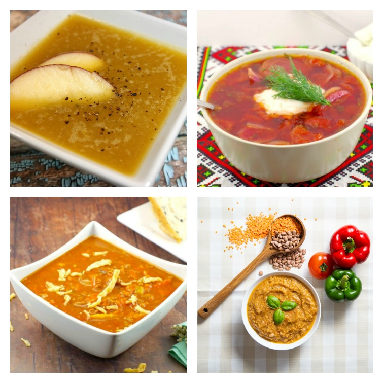 four photos of bowls of soup