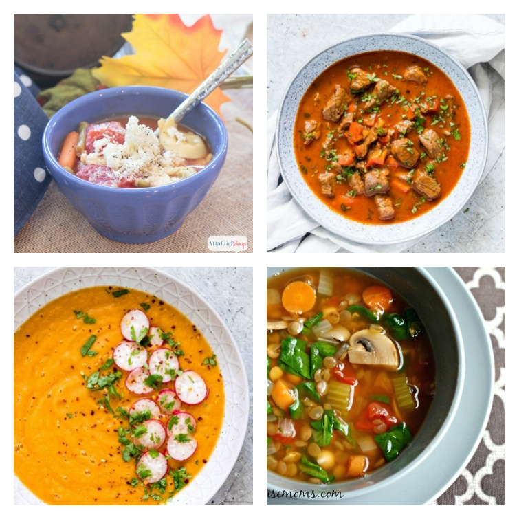collage photo showing four bowls of Weight Watchers soup recipes