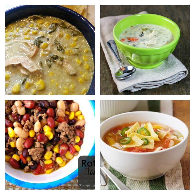 collage photo with four bowls of Weight Watchers soup recipes
