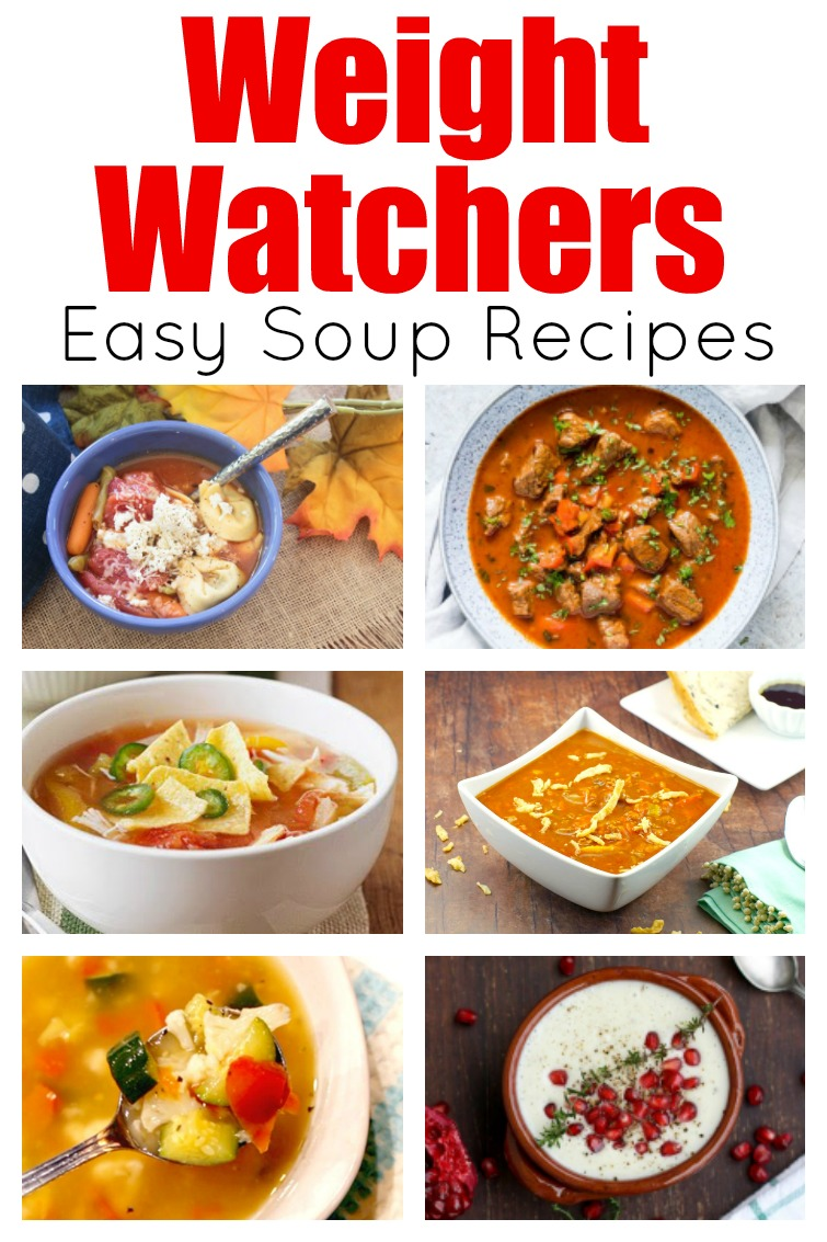 collage photo titled Quick & Easy Weight Watchers Soup recipes with photos of bowls of soup