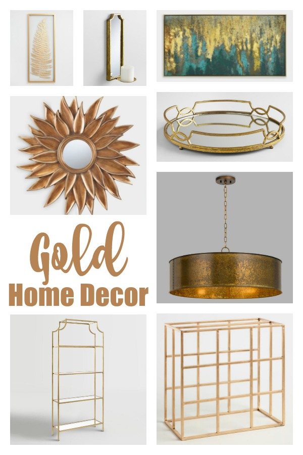 collage showing various gold home decor items, including a mirror, light fixture and tray
