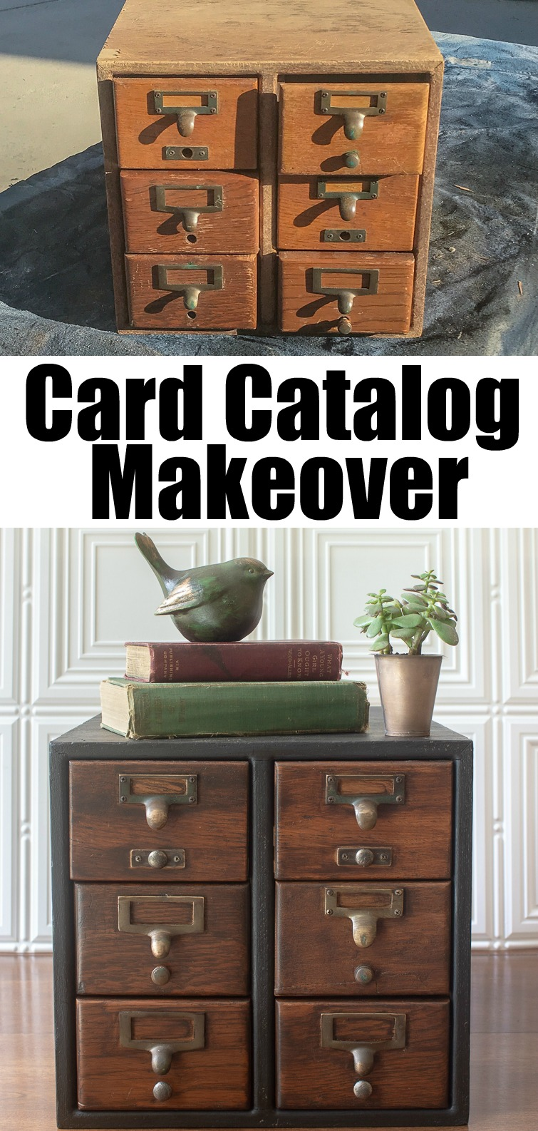 before and after photos of a vintage card catalog makeover