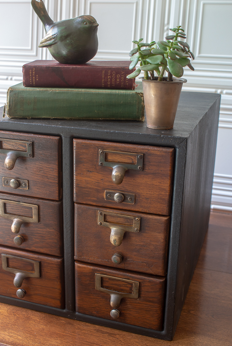 vintage card catalog finished in gray and black