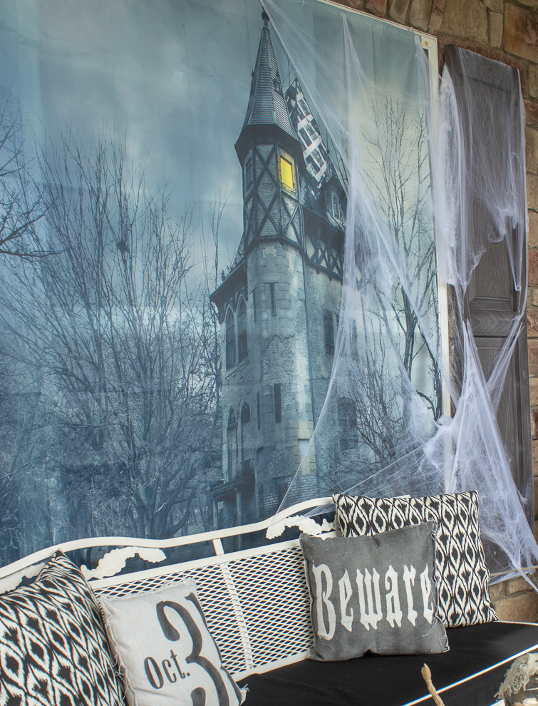 haunted house shower curtain used as a backdrop