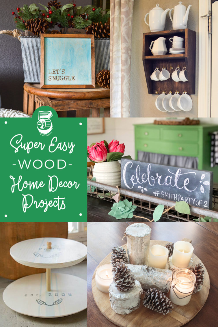 collage photo showing two wooden signs, a wooden coffee rack, a tiered wooden tray and a snowy winter centerpiece made with birch logs