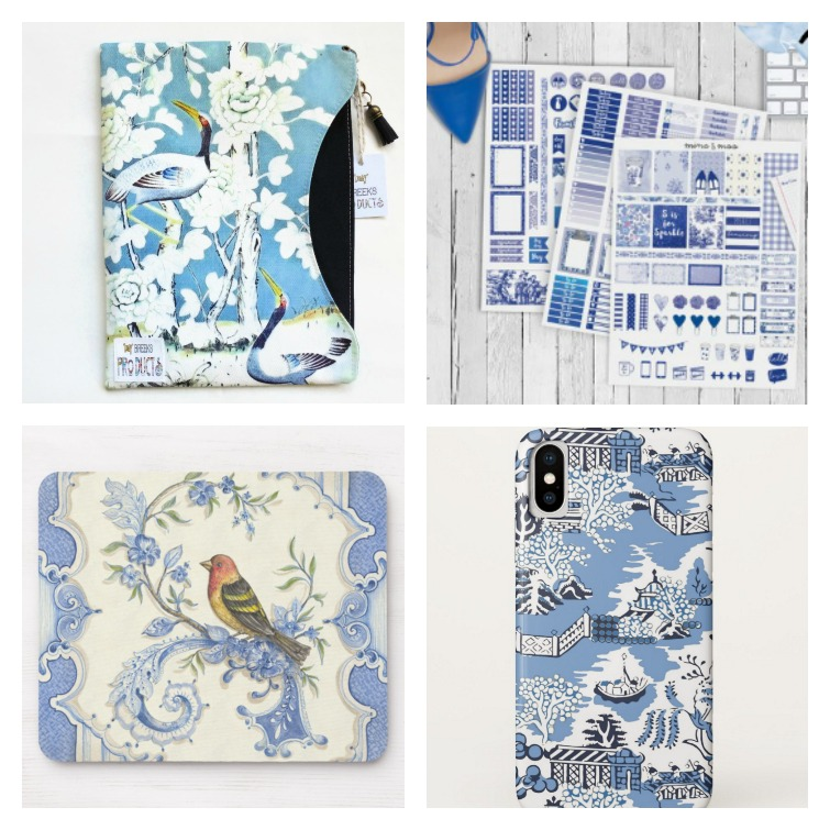 chinoiserie ipad case, chinoiserie planner stickers, bid mousepad, blue willow phone case