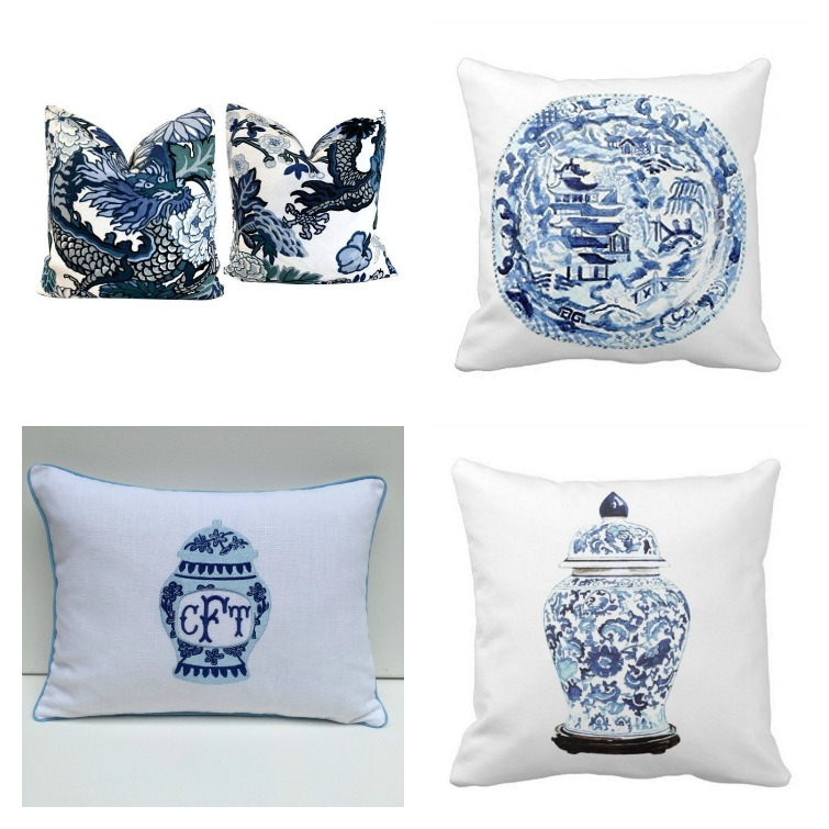 blue and white chinoiserie pillows
