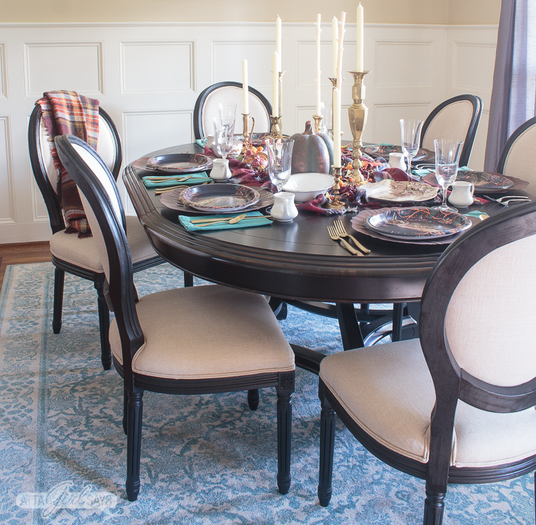 dining room table set for Thanksgiving