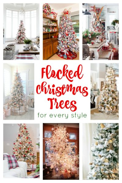 collage photo showing a variety of white flocked Christmas trees