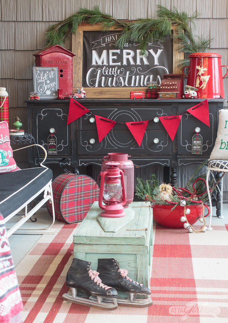 vintage Christmas front porch decorations