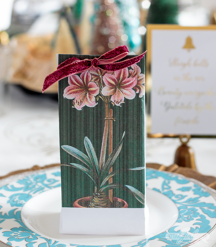 amaryllis printable bulb bag party favor on a tablesetting