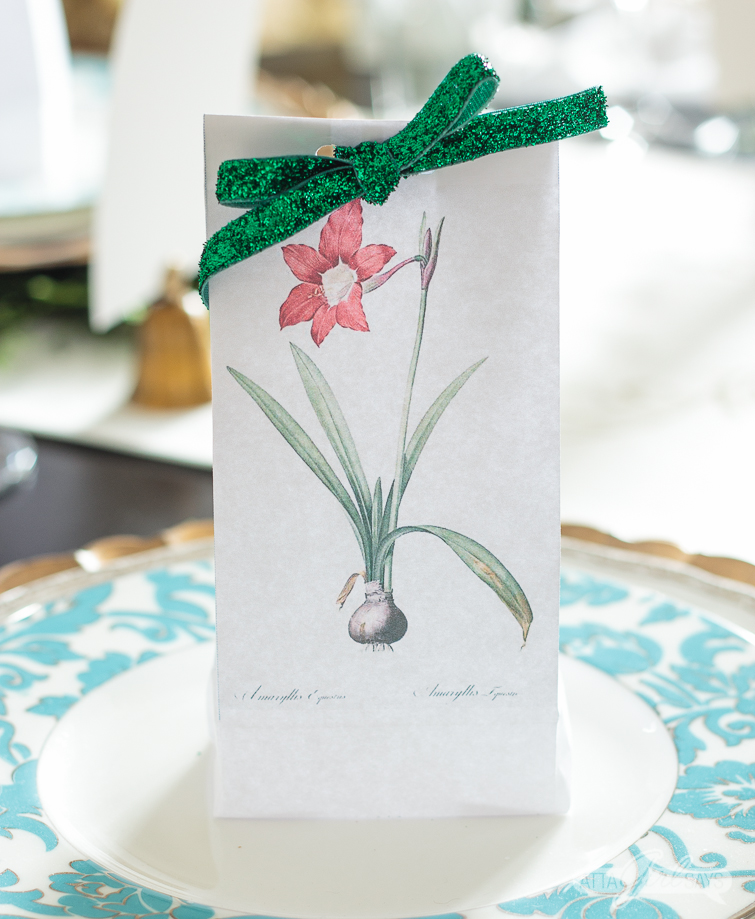 white paper bag with a vintage amaryllis botanical print