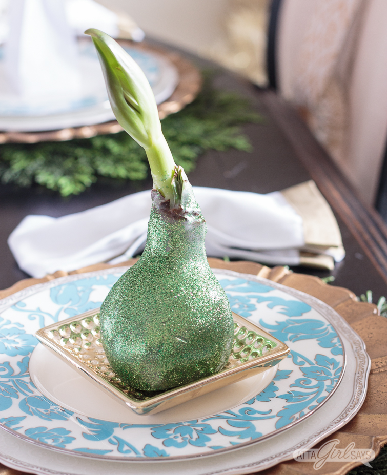 glittered, waxed amaryllis bulb sitting on a gold plate