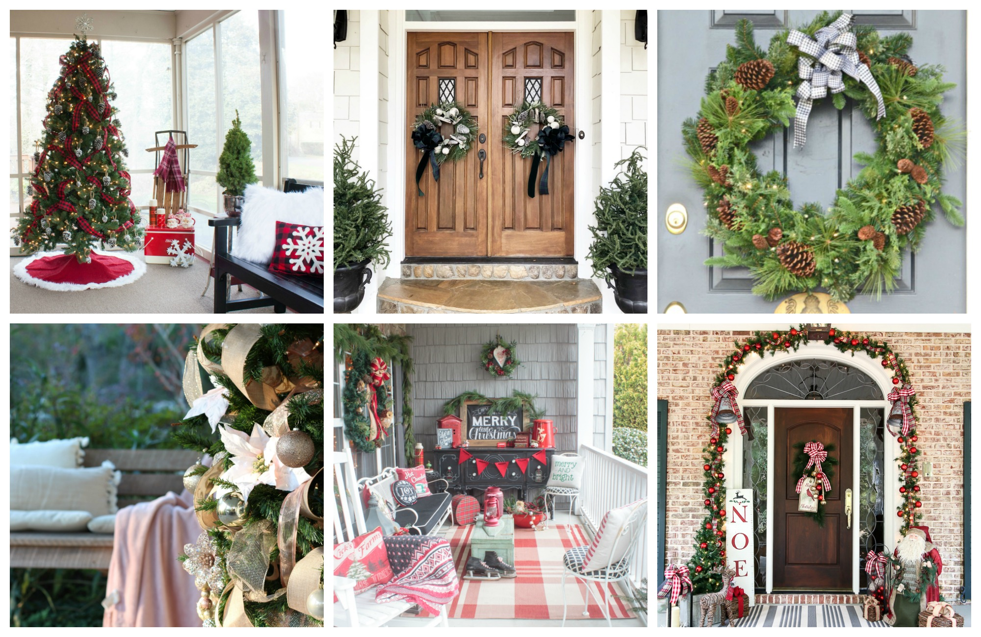 collage photo featuring four Christmas porches